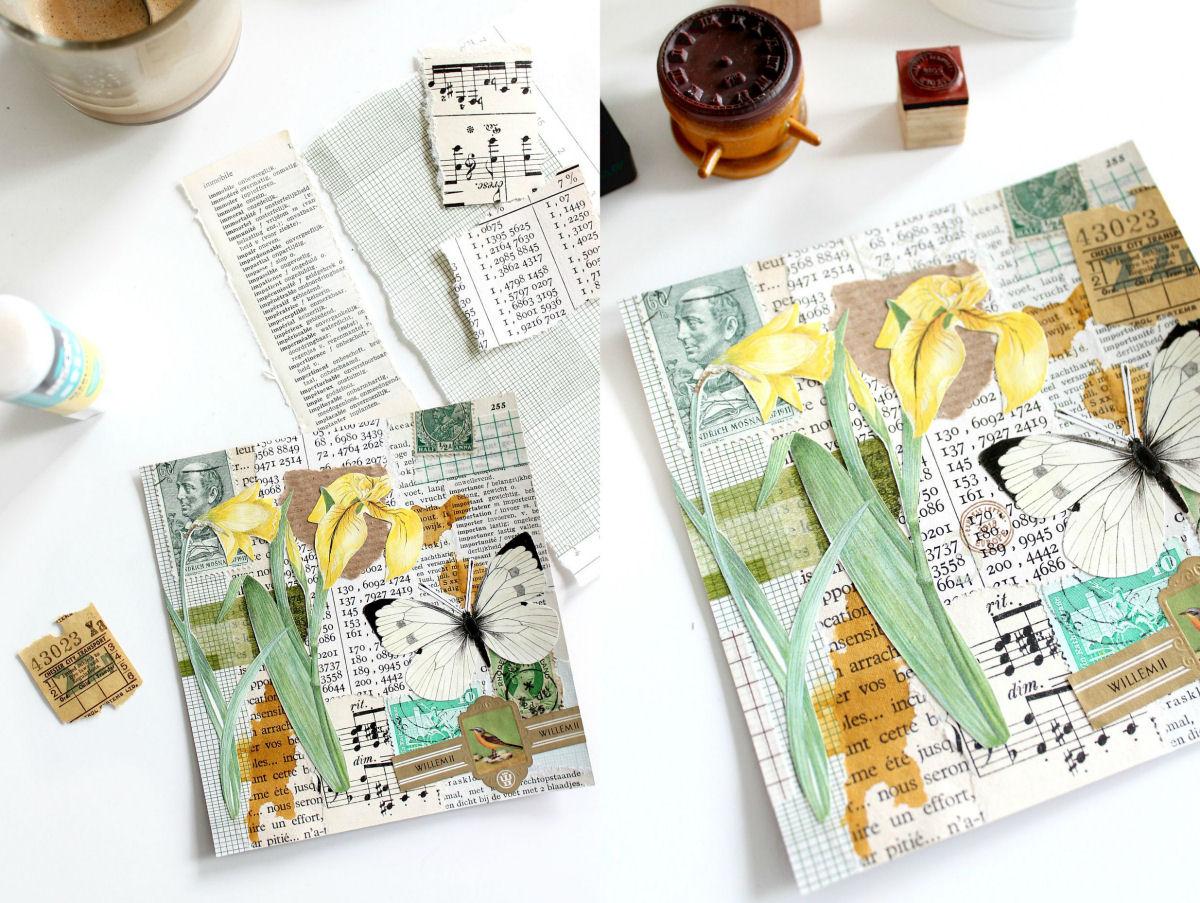 botanische collage opbouwen