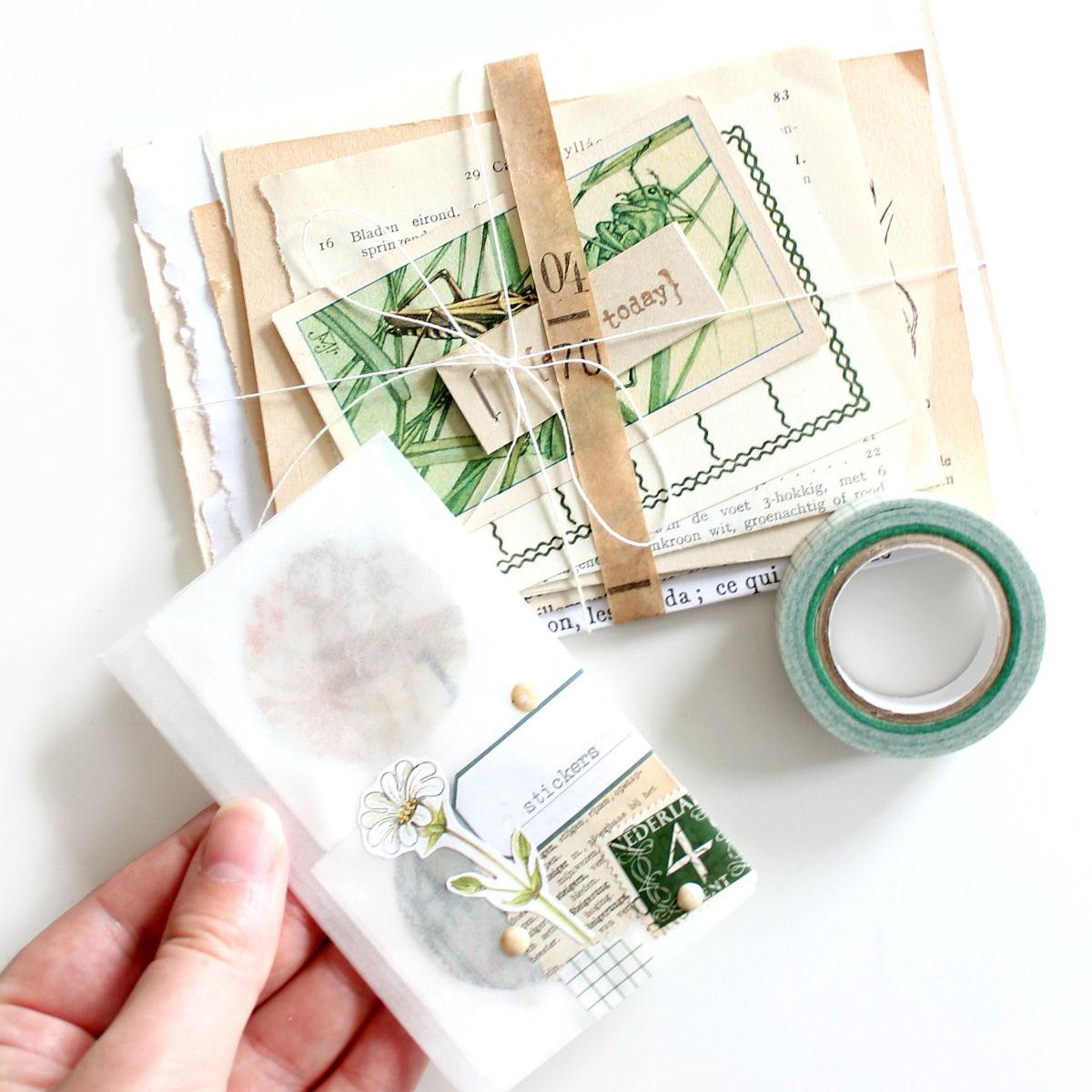 Uitgaande post: kleurenpalet van groen, bruin en wit
