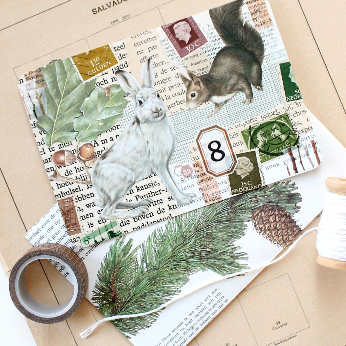 5 winterse collage kaarten met dieren