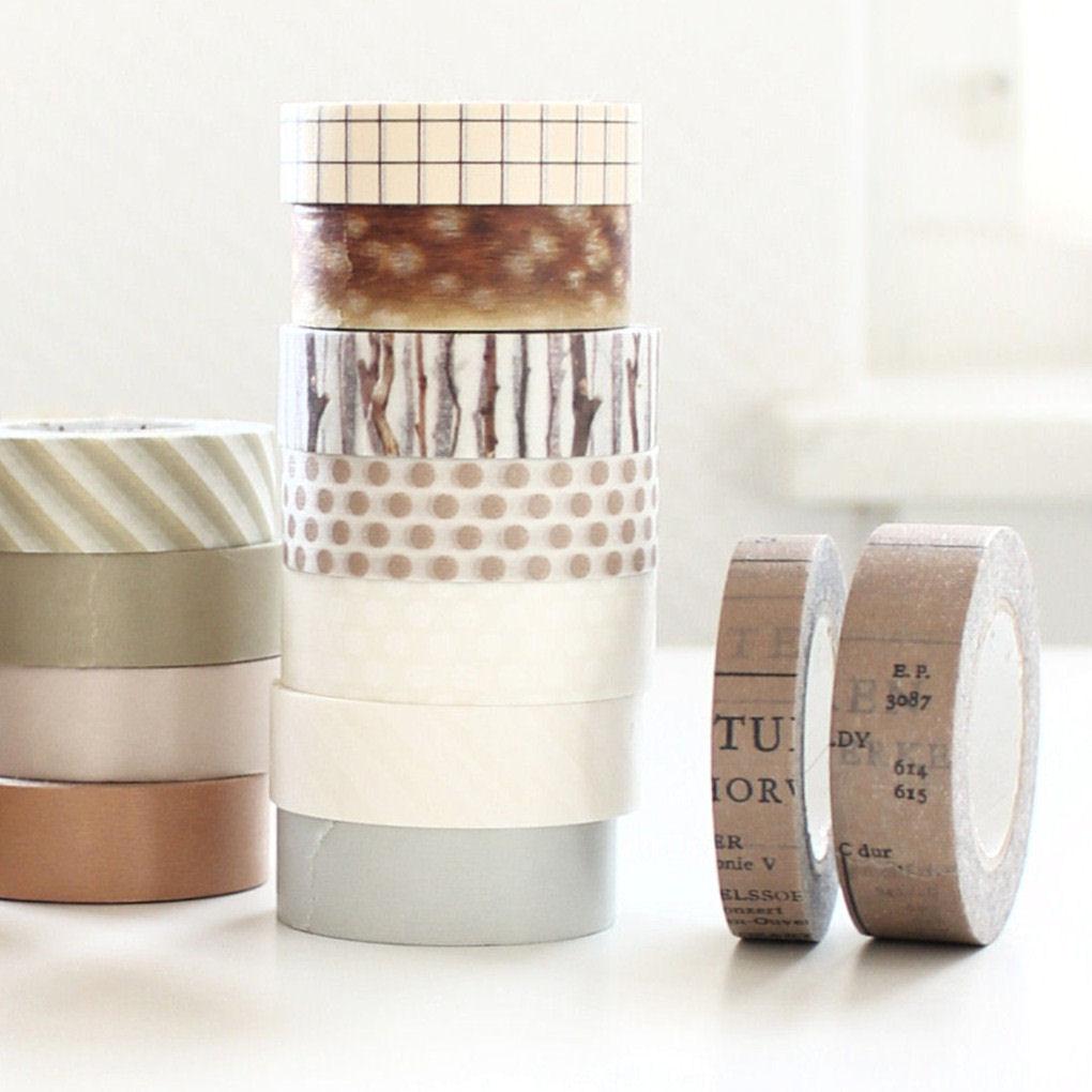 16 favoriete washi tapes in neutrale kleuren